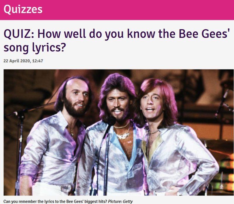 ビー・ジーズの曲の歌詞あてクイズです